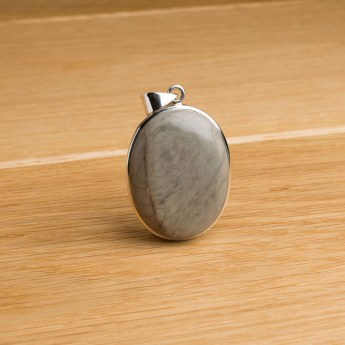oval shaped willow creek jasper stone pendant crafted in sterling silver