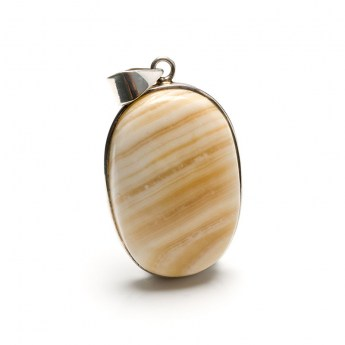 ladies pendant featuring a soft yellow coloured agate cabochon crafted in sterling silver
