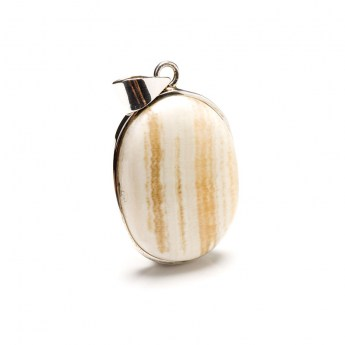 ladies pendant featuring a yellow lace agate gemstone mounted in sterling silver