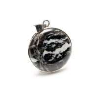 zebra jasper black and white gemstone crafted as a ladies pendant in sterling silver