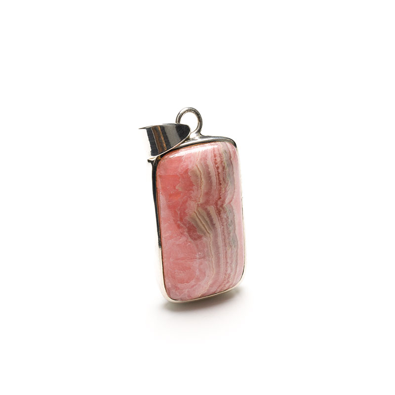 rhodochrosite ladies pendant crafted in sterling silver