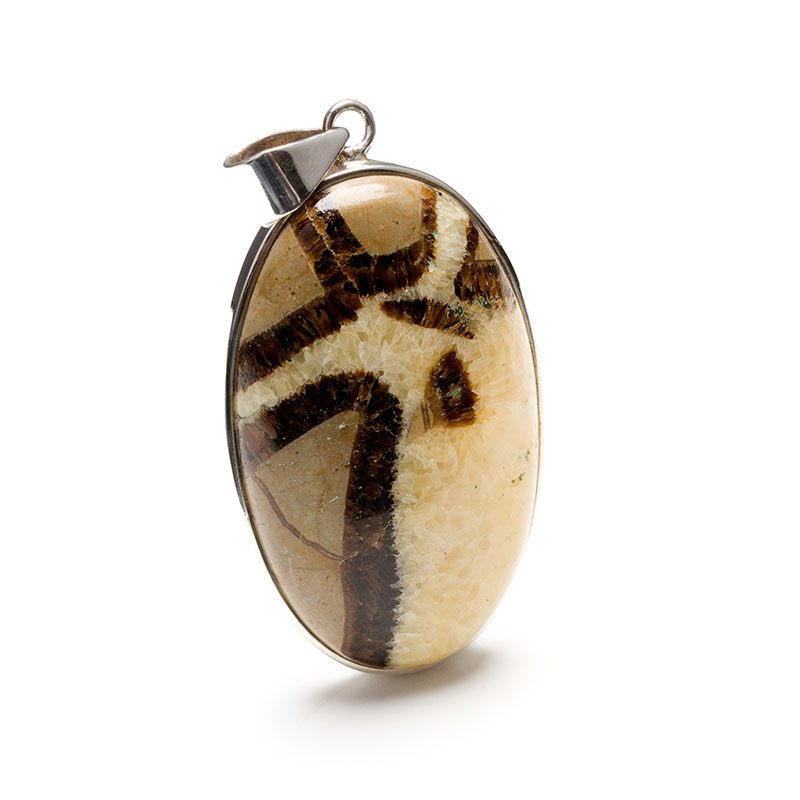 Septarian gemstone pendant crafted in sterling silver