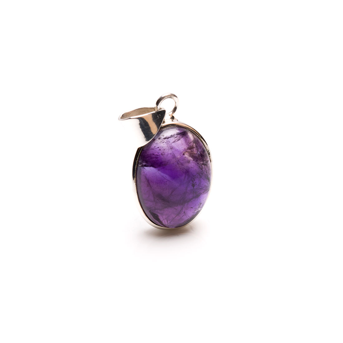 Small oval shaped amethyst cabochon gemstone crafted as a ladies pendant in sterling silver