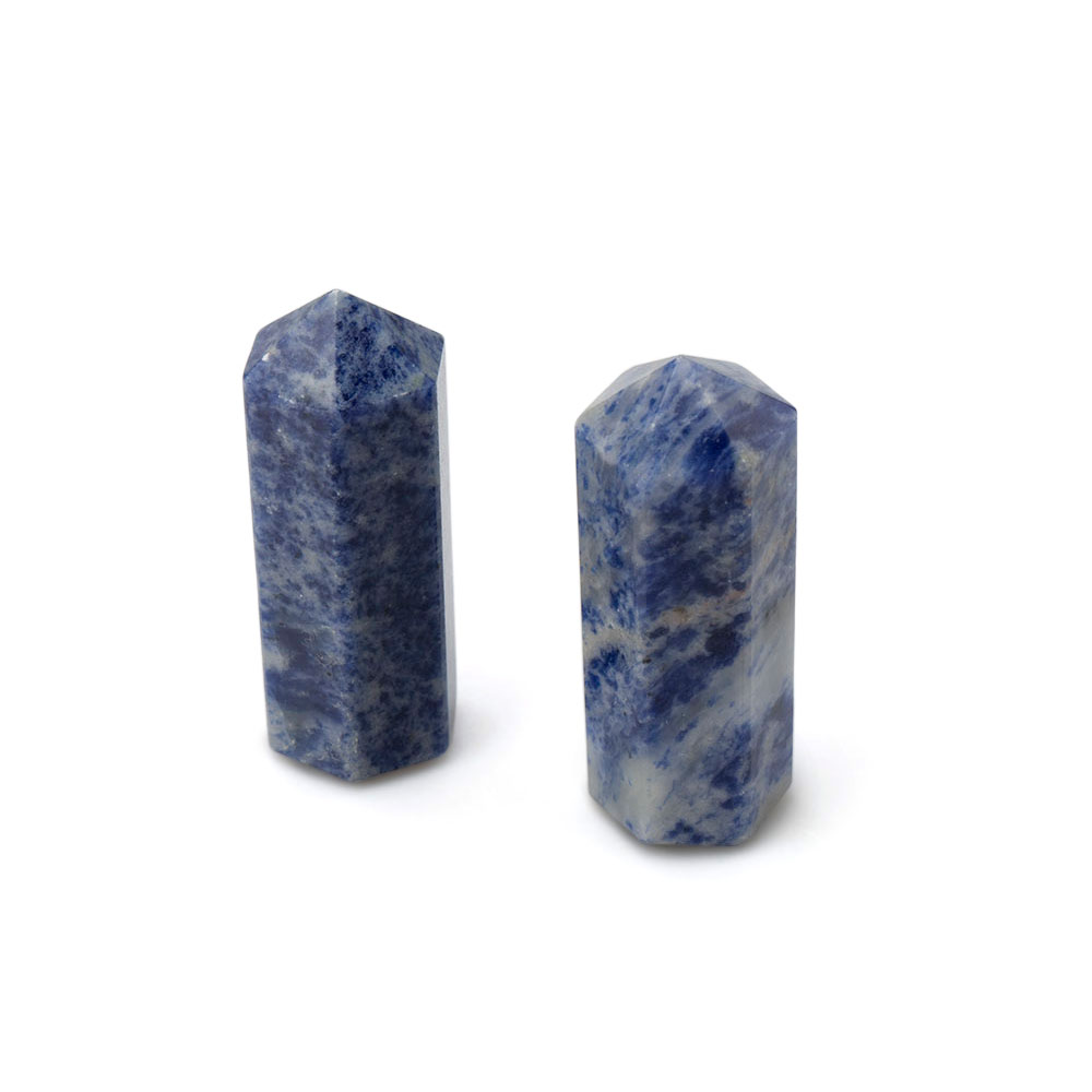 three terminated points carved from the blue coloured mineral sodalite