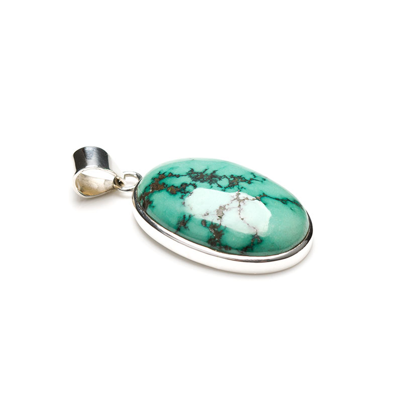 Ladies turquoise pendant crafted in fine sterling silver