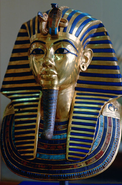 tutankhamun's funerary mask inlaid with coloured glass lapis lazuli and other gemstones